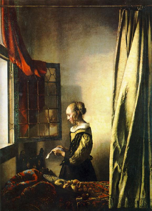 JanVermeer Girl Reading a Letter at an Open Window oil painting image