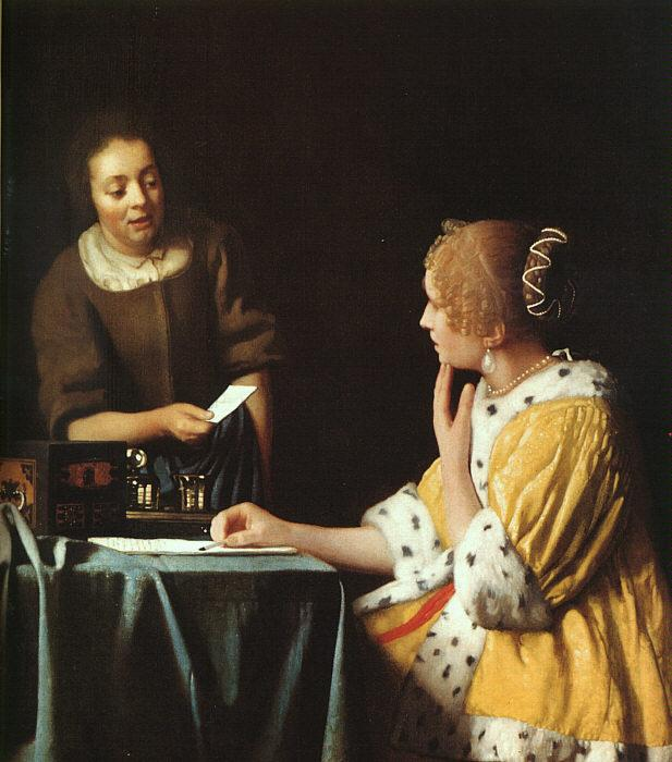 JanVermeer Lady with her Maidservant oil painting image