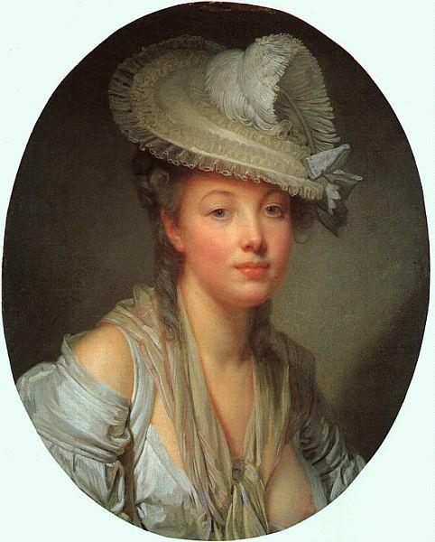 Jean Baptiste Greuze Young Woman in a White Hat oil painting image