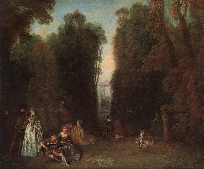 Jean-Antoine Watteau View through the trees in the Park of Pierre Crozat oil painting image