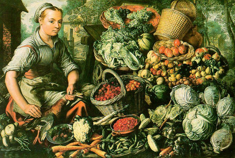 Joachim Beuckelaer Market Woman with Fruits, Vegetables and Poultry oil painting image
