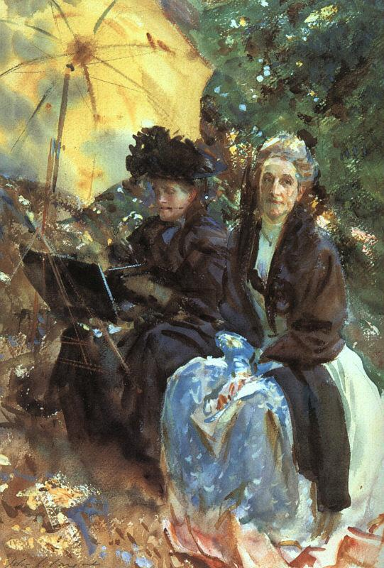 John Singer Sargent Miss Wedgewood and Miss Sargent Sketching oil painting image