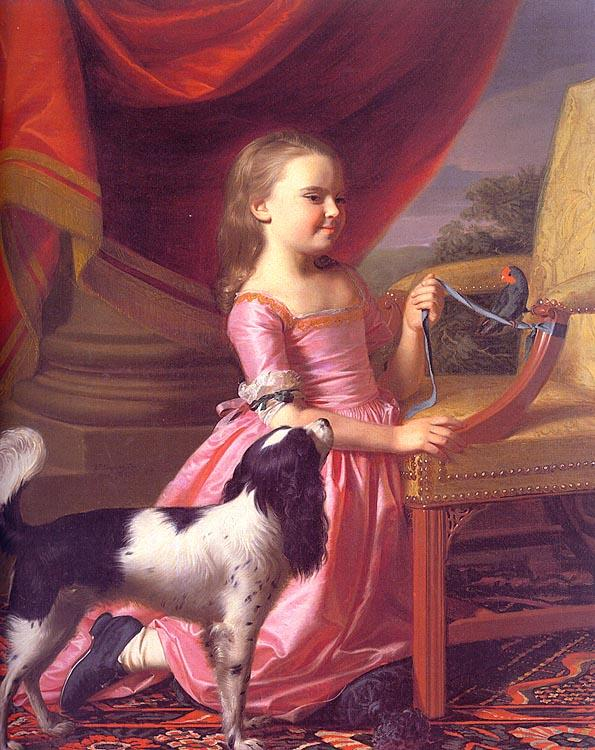 John Singleton Copley Young Lady with a Bird and a Dog Sweden oil painting art