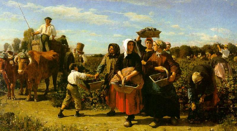 Jules Breton The Vintage at the Chateau Lagrange oil painting image
