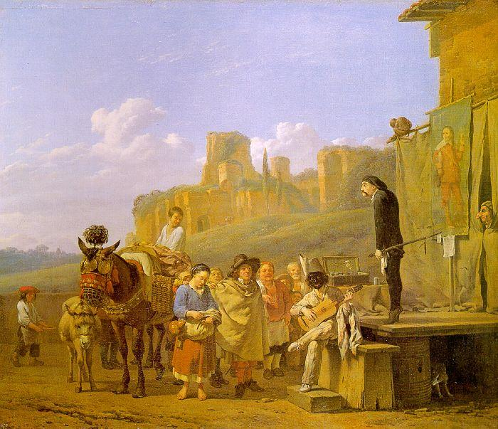 Karel Dujardin A Party of Charlatans in an Italian Landscape oil painting image