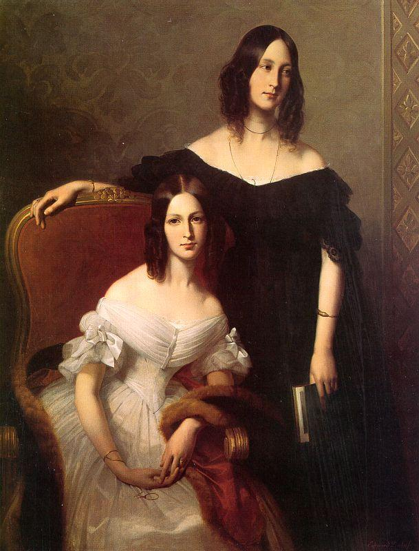Louis-Edouard Dubufe Portrait of Two Sisters oil painting image