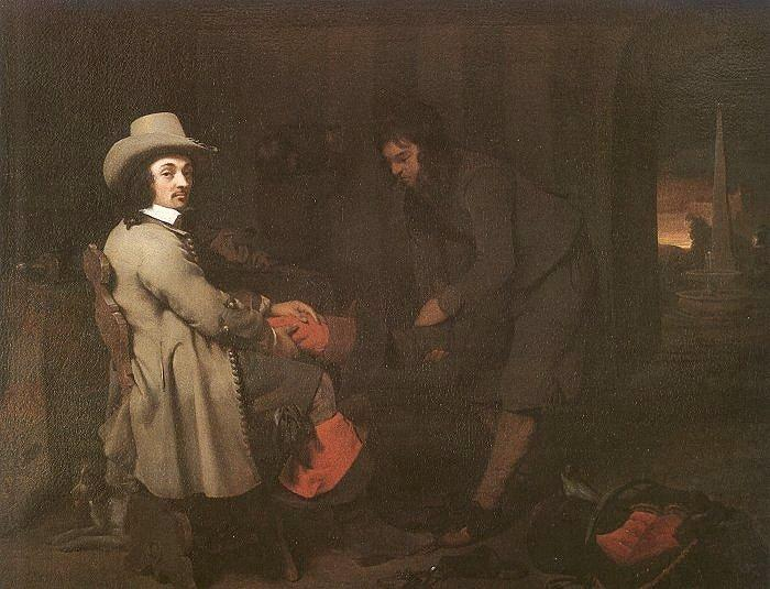 Michael Sweerts Seated Man with a Youth and a Servant in an Interior Sweden oil painting art