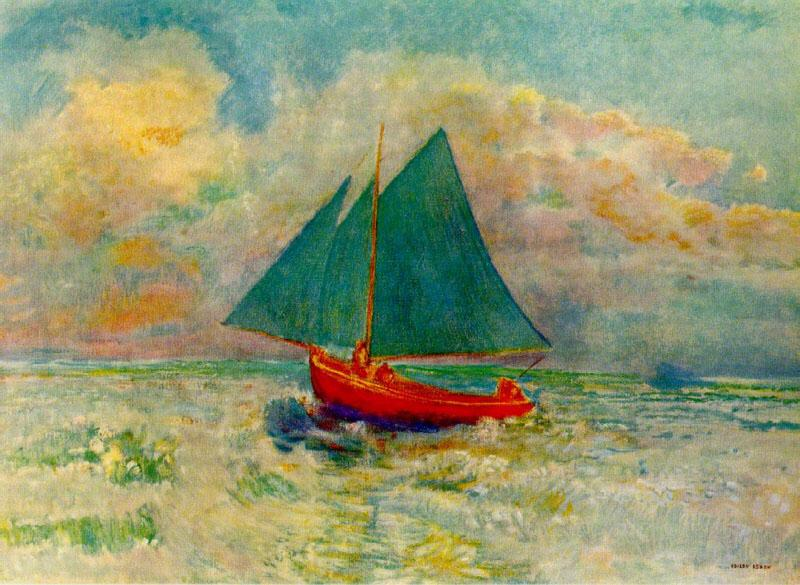 Odilon Redon Red Boat with a Blue Sail Sweden oil painting art