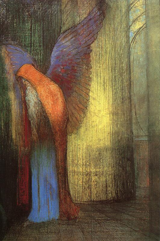 Odilon Redon Winged Old Man with a Long White Beard Sweden oil painting art