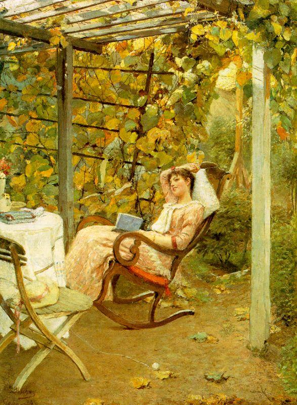 Oscar Bluhm In the Pergola oil painting image