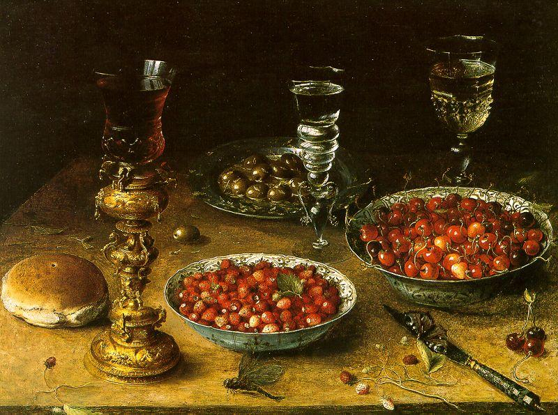 Osias Beert Still Life with Cherries Strawberries in China Bowls oil painting image