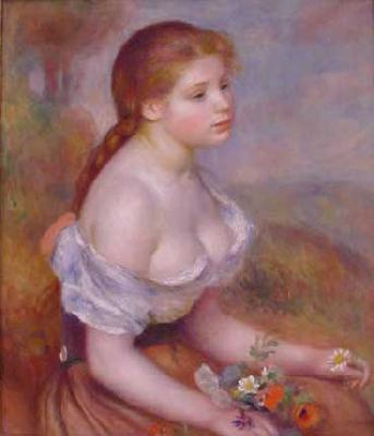 Pierre Renoir Young Girl With Daisies Sweden oil painting art