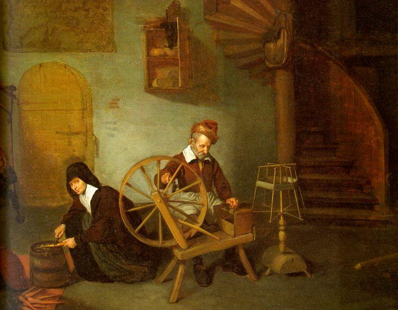 Quirijn van Brekelenkam Man Spinning and Woman Scraping Carrots oil painting image