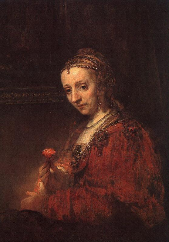 Rembrandt Lady with a Pink Sweden oil painting art