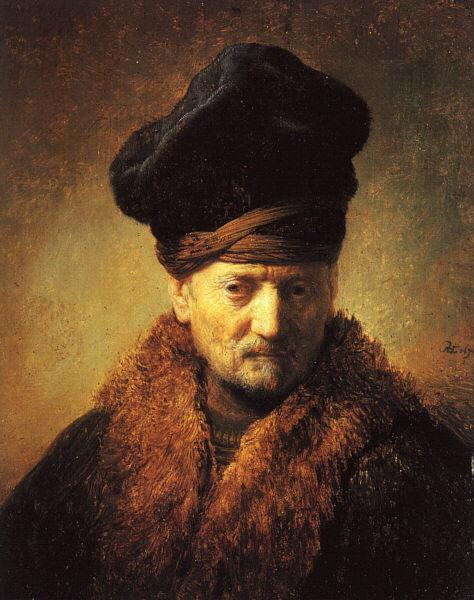 Rembrandt Bust of an Old Man in a Fur Cap Sweden oil painting art