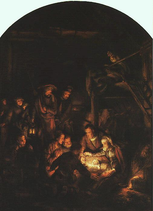Rembrandt Adoration of the Shepherds Sweden oil painting art