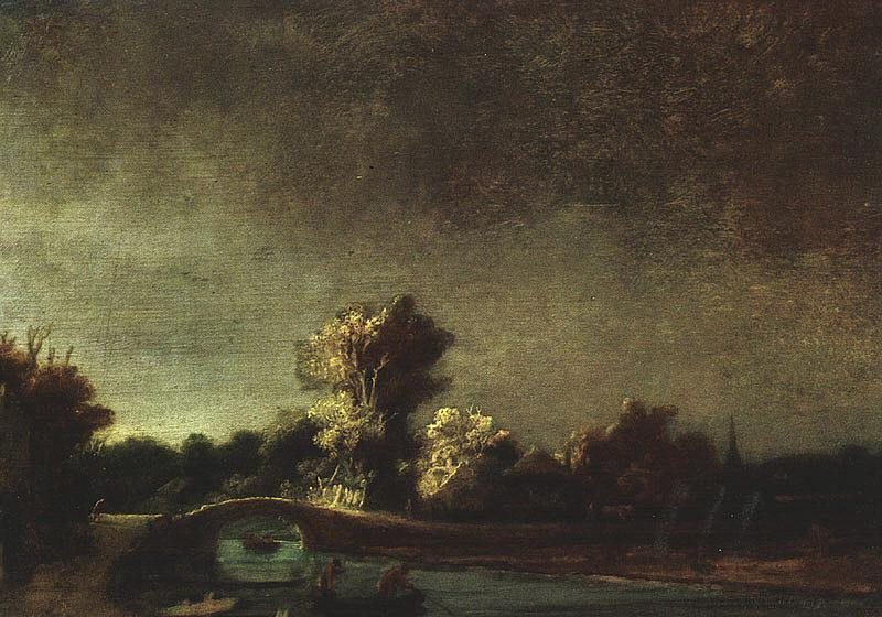 Rembrandt Landscape with a Stone Bridge Sweden oil painting art