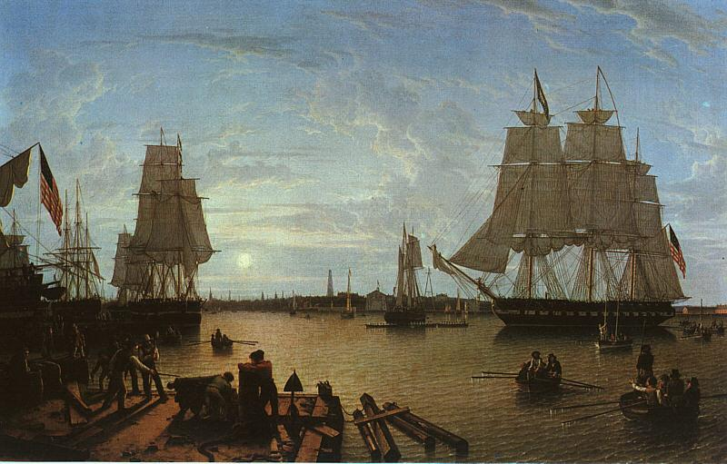 Robert Salmon Boston Harbor as seen from Constitution Wharf Sweden oil painting art