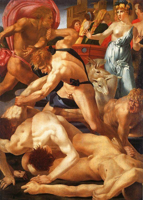 Rosso Fiorentino Moses Defending the Daughters of Jethro Sweden oil painting art