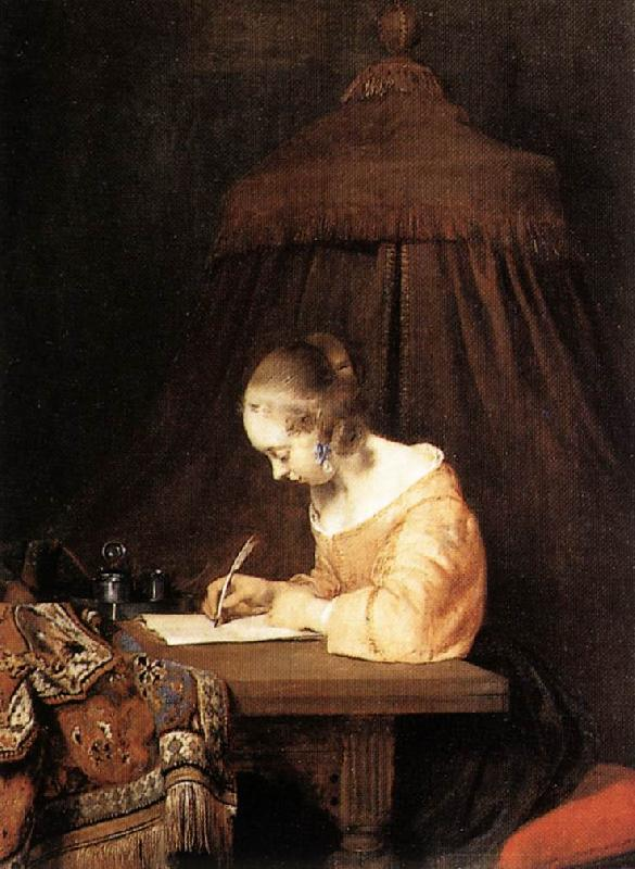 TERBORCH, Gerard Woman Writing a Letter a Sweden oil painting art