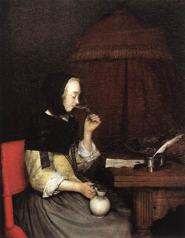 TERBORCH, Gerard Woman Drinking Winen 5r oil painting image