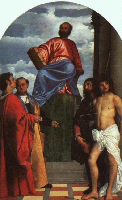 TIZIANO Vecellio St. Mark Enthroned with Saints t oil painting image