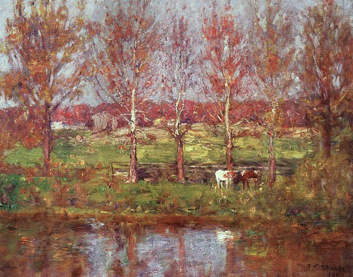 Theodore Clement Steele Cows by the Stream Sweden oil painting art