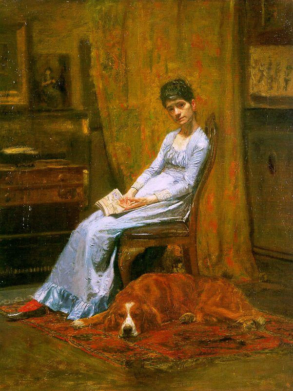 Thomas Eakins The Artist's Wife and his Setter Dog Sweden oil painting art
