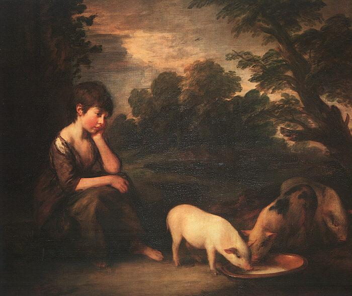 Thomas Gainsborough Girl with Pigs oil painting image