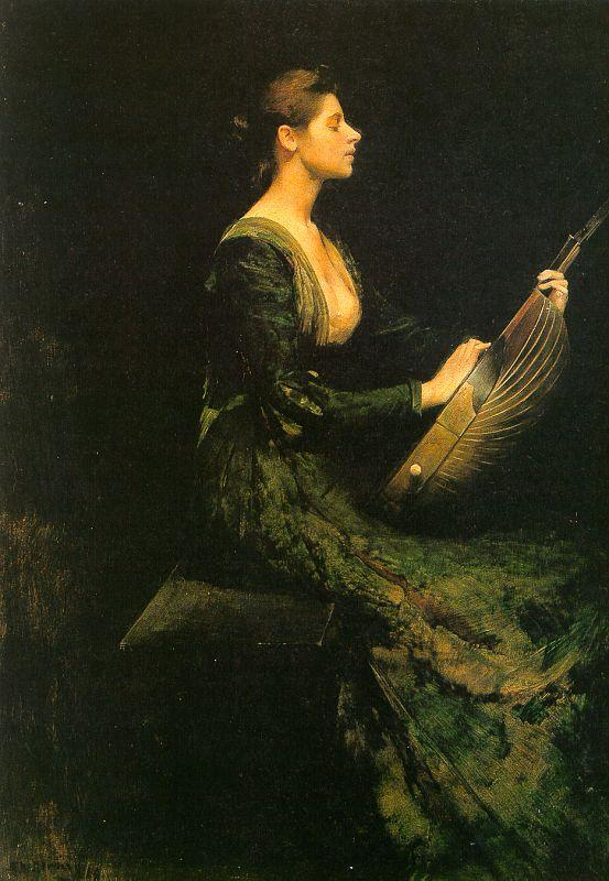 Thomas Wilmer Dewing Lady with a Lute Sweden oil painting art
