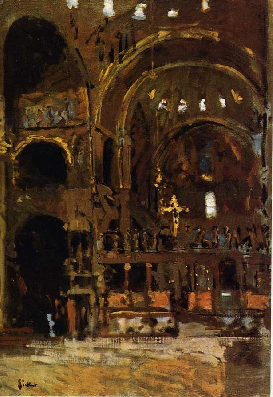 Walter Sickert Interior of St Mark's, Venice Sweden oil painting art