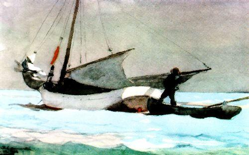 Winslow Homer Stowing the Sail, Bahamas Sweden oil painting art