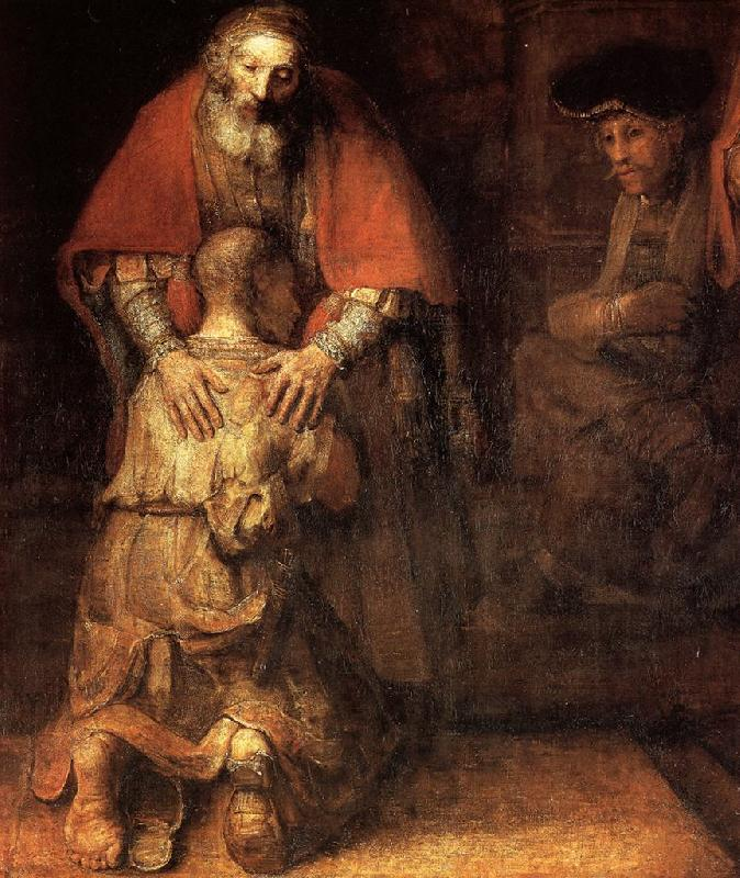 REMBRANDT Harmenszoon van Rijn The Return of the Prodigal Son (detail) oil painting image