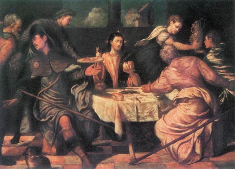 TINTORETTO, Jacopo The Supper at Emmaus ar oil painting image