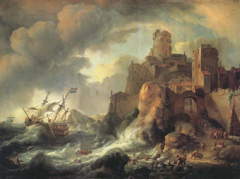 BACKHUYSEN, Ludolf Shipwreck by the Coastal Cliffs oil painting image