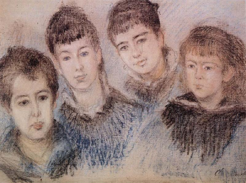 Claude Monet The Four Hoschede Childern Jacques,Suzanne,Blanche and Germaine oil painting picture
