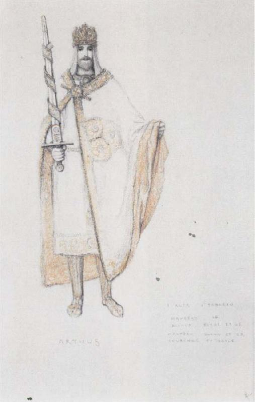 Fernand Khnopff Costume Drawing for Le Roi Arthus Arthus oil painting picture