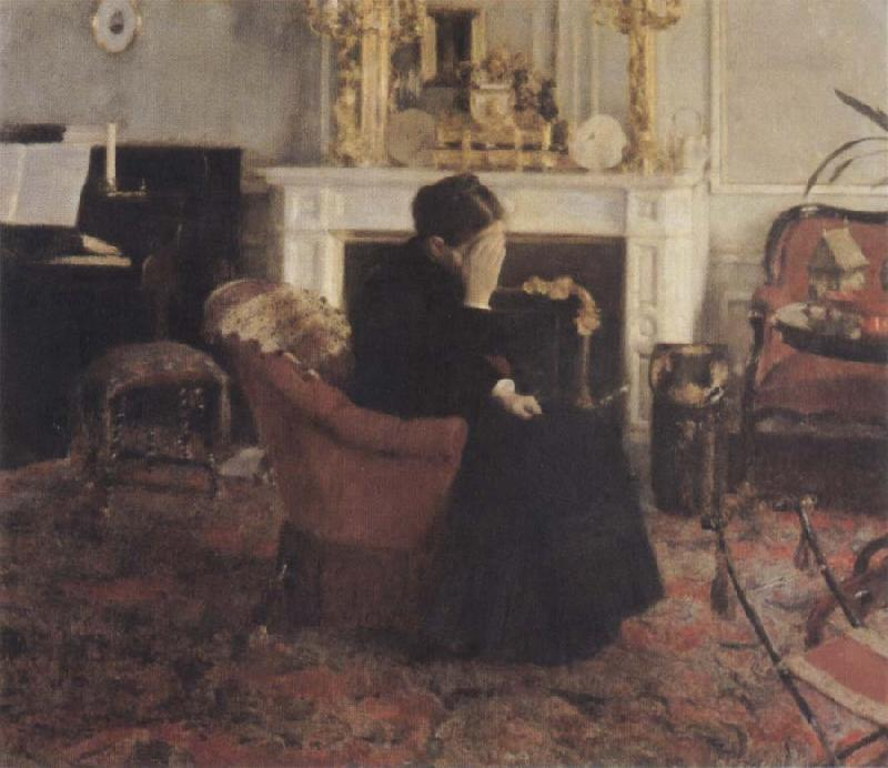 Fernand Khnopff Listingto Music by Schumann oil painting picture