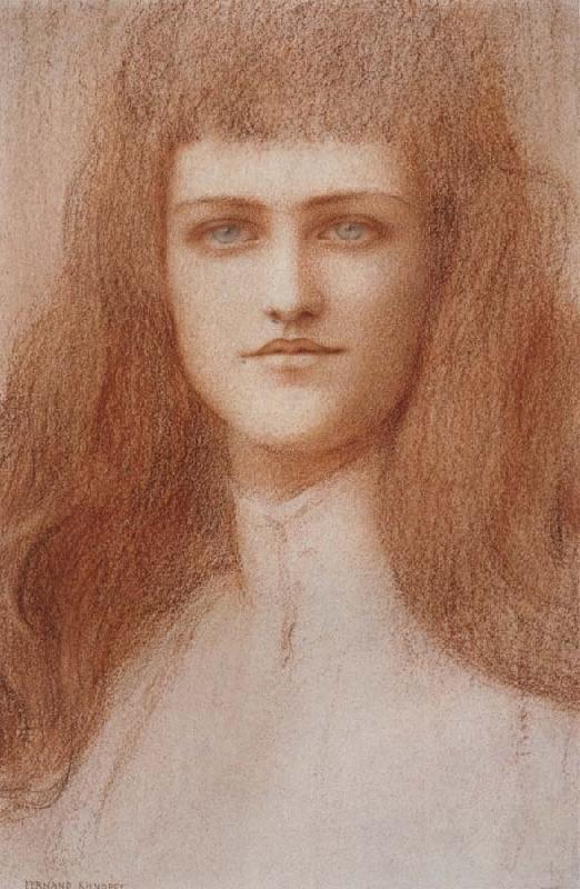 Fernand Khnopff Head of a Young Englishwoman oil painting picture