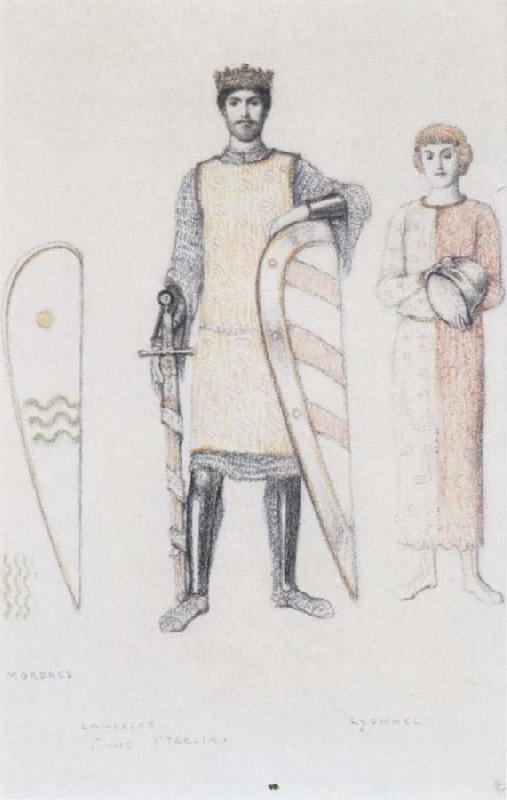 Fernand Khnopff Costume Drawing for Le Roi Arthus Mordred Lancelot and Lyonnel oil painting picture