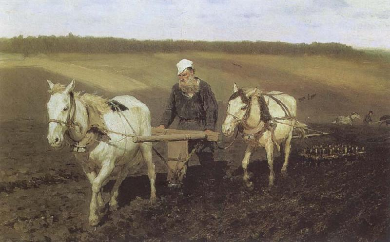 Ilya Repin A Ploughman,Leo Tolstoy Ploughing oil painting picture