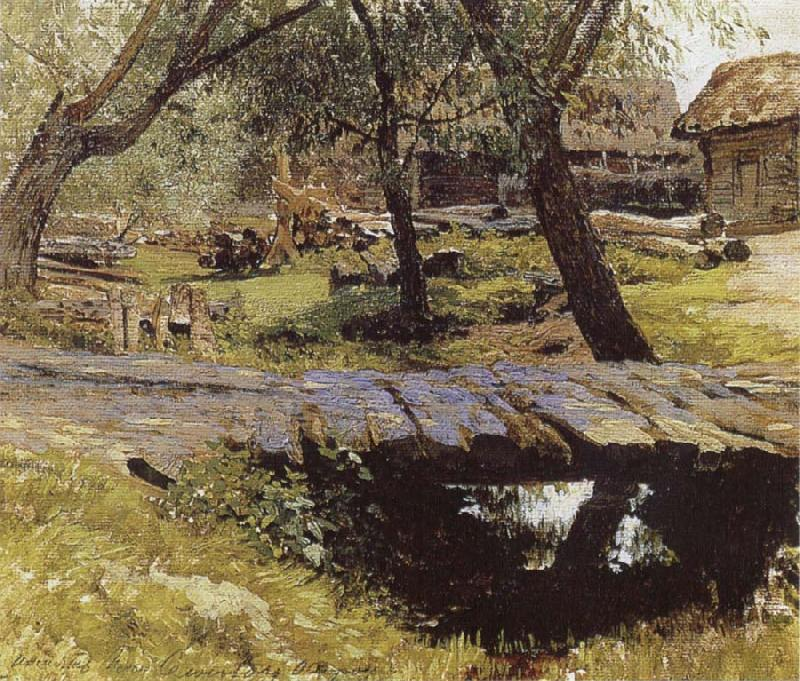 Isaac Levitan Little Bridge,Village of Savinskaya,Study oil painting image