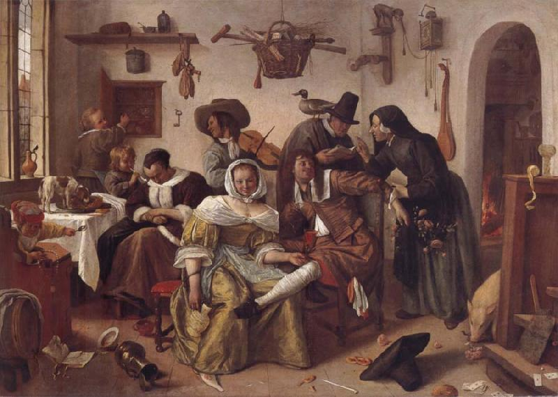 Jan Steen Beware of Hxury oil painting picture