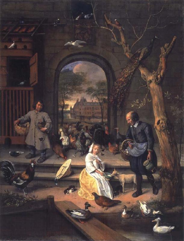 Jan Steen The Poultry yard,Probably a Portrait of Sernardina Margriet van Raesfelt Before Lokborst Caslt near Warmond oil painting picture