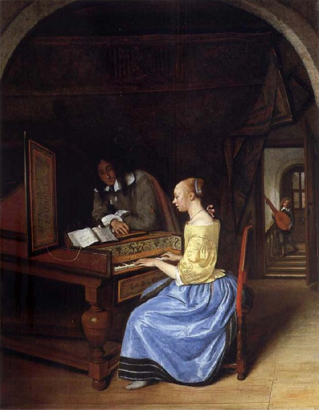 Jan Steen A young woman playing a harpsichord to a young man oil painting picture