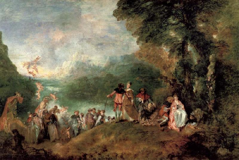 Jean-Antoine Watteau Pilgrimage to the island of cythera oil painting picture