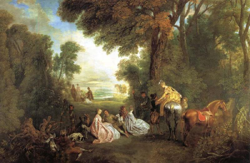 Jean-Antoine Watteau The Halt During the Chase oil painting picture