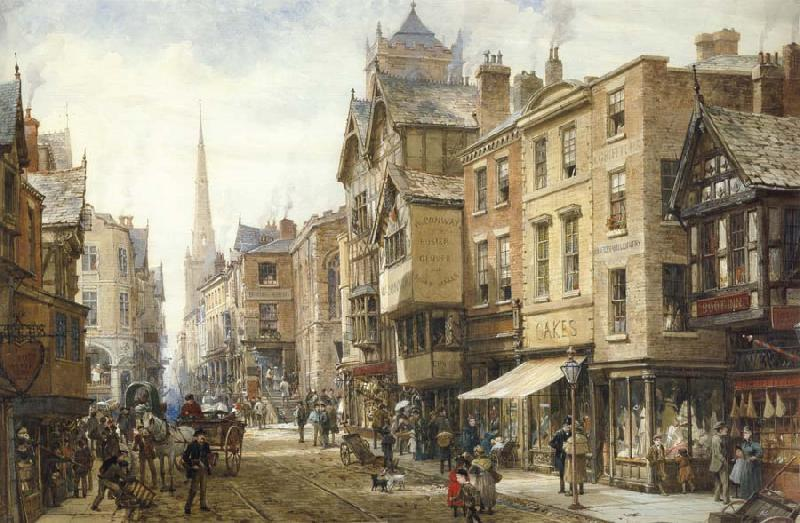 Louise Rayner The Cross,Eastgate,Chester oil painting picture