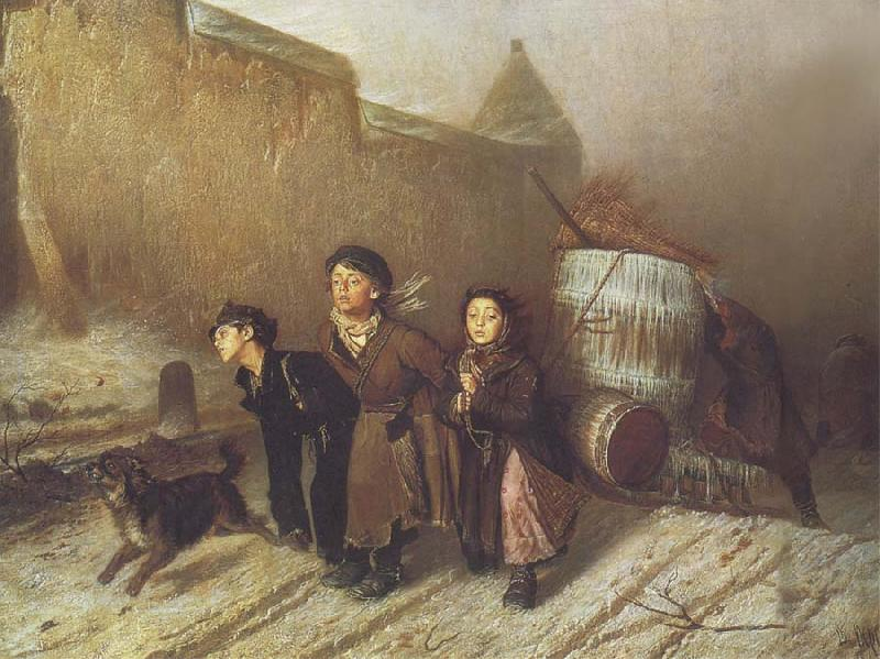 Vasily Perov Apprentices Pulling a Water Barrel oil painting picture