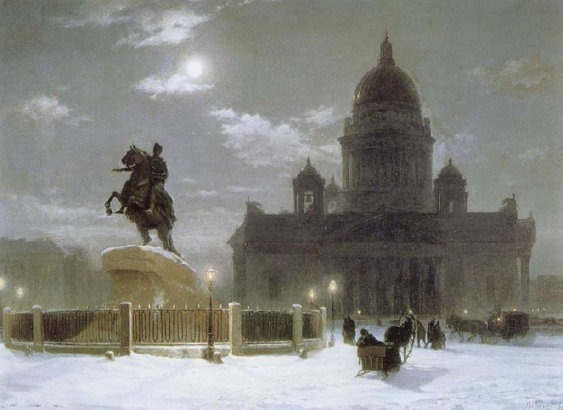 Vasily Surikov Monument to Peter the Great on Senate Squar in St.Petersburg oil painting picture